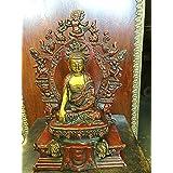 "Brass Statue of Meditating Buddha Collectible Figurine Buddhism Statues 10.5"""