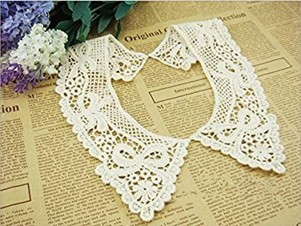 White Gnognauq Flower Lace Collar Hollow Out Applique Neckline Decorative Fake Collar DIY Garment Accessories