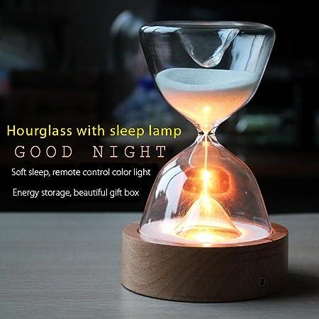 [de regalo empaquetado] luces de cristal reloj de arena, PAWACA temporizador de arena noche LED luces Sleep Helper con mando a distancia para Navidad ...