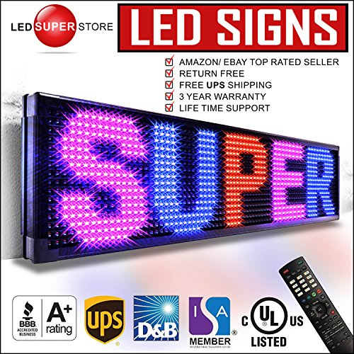 LED SUPER STORE: 3Color/RBP/P30mm/IR - 22''x60'' Remote Control, Outdoor Programmable Message Scrolling EMC Signs Display, Reader Board by LED Super Store Corp.