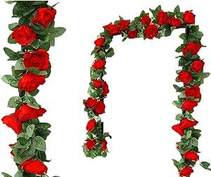 LNHOMY Lannu 2PCS 15 FT Artificial Rose Vine Garland Flowers Fake Flower Plants for Wedding Home Garden Party Hotel Decor, (Red)