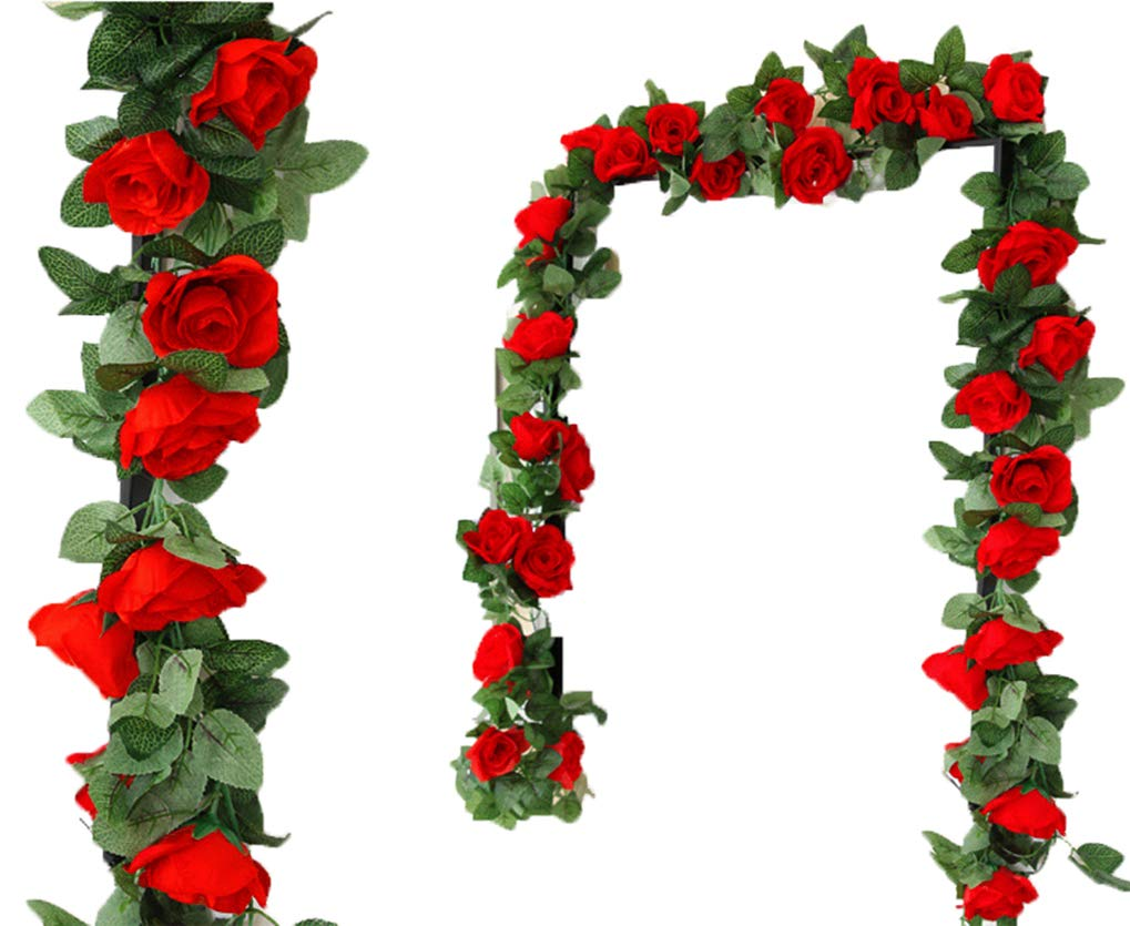 Lannu 2PCS 15 FT Artificial Rose Vine Garland Flowers Fake Flower Plants for Wedding Home Garden Party Hotel Decor, (Red)