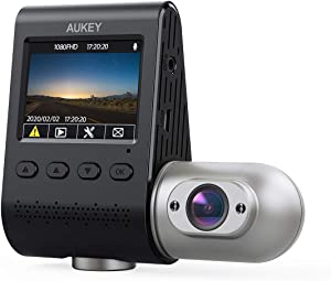 AUKEY Dual Dash Cam Uber 3 in 1 FHD 1080p IR Night Vision Car Camera 170 Degrees Wide-Angle Dash Camera for Cars with Supercapacitor, WDR, Motion Detection, G-Sensor, Loop and Dual-Port Car Charger