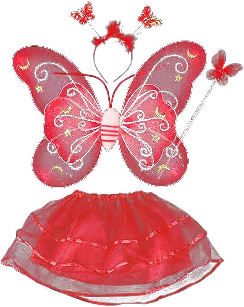 50x40cm, Rouge MVPKK LED Glow Ailes de Papillon Enfants Ensemble Trois Pi/èces Bandeau Ailes B/âton Magique Fille Papillon F/ée Costume Ailes Bandeau Baguette Magique Jeu