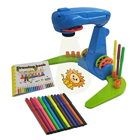 Xcivi Projector Learning Painting For Kids Educational Learning Toy Trace And Draw Projector With 32 Patterns 12 Colour Water Pens And 1 Drawing Book