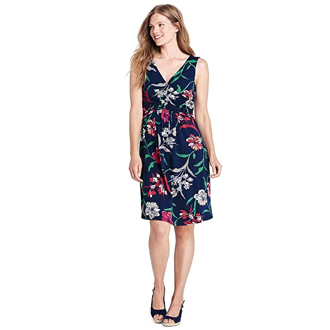 924d560b95cf Lands' End Women's Petite Wrap Front Fit and Flare Dress Knee Length at Amazon  Women's Clothing store:
