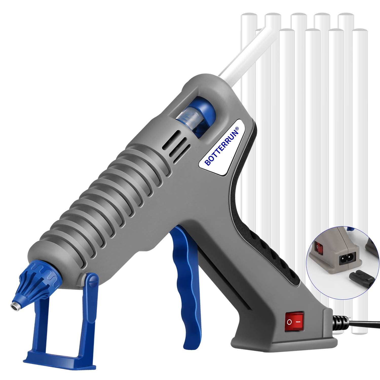 Hot Glue Gun, BOTTERRUN 120W Professional Hot Melt Glue Gun Kit with Adhesive Glue Sticks and Comfort Handle, Heavy Duty High Temp for Industrial Construction DIY Arts Crafts School Home Improvement by BOTTERRUN