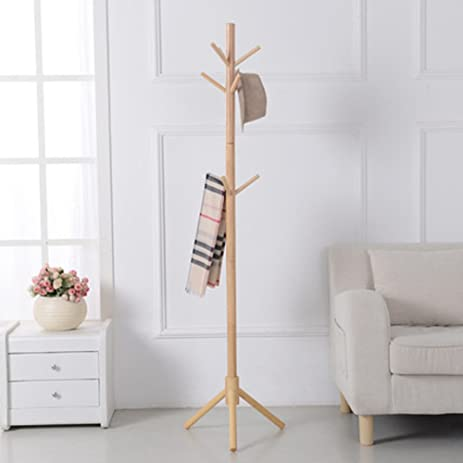 Amazon.com: Coat rack solid wood floor clothing hat rack living ...