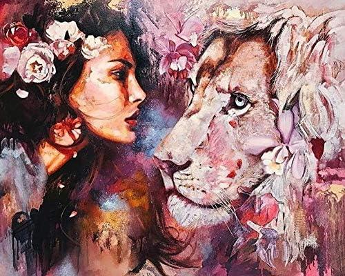 DIY絵画セット番号別油絵キット自宅でサティDIY絵画ぬりえ画像オフィス装飾15.75×19.69inch枠なし-動物と美容