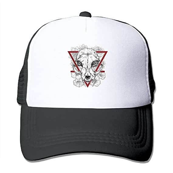 738ee36968 Image Unavailable. Image not available for. Color  Skull Triangle Flower Mesh  Trucker Hat - Baseball Cap Black