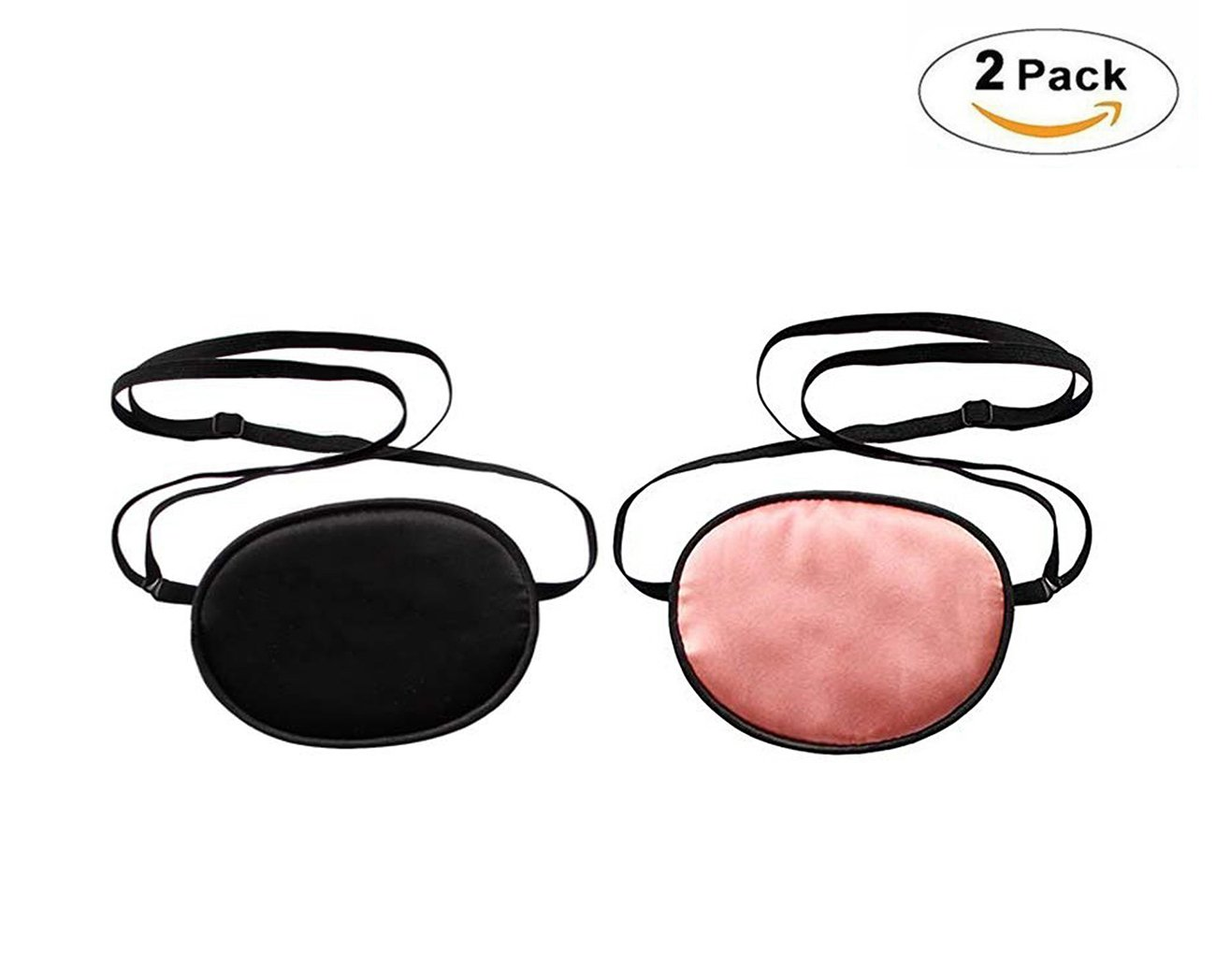 Wommty 2 Pack Silk Eye Patch Elastic Eye Patches Lazy Eye Patches for Child Lazy Eye and Amblyopia Strabismus, No Leakage Smooth Soft and Comfortable, Black& Dark Pink (Child) Wommty EU