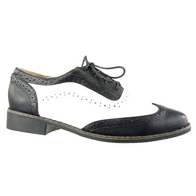 Angkorly Zapatillas Moda Zapato Acento Mujer Perforado Acabado Costura pespunte Tacón Ancho 2.5 cm - Negro FD283 T 41: Amazon.es: Zapatos y complementos