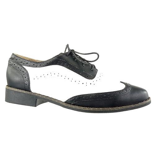 Angkorly - Zapatillas Moda Zapato Acento Mujer Perforado Acabado Costura Pespunte Tacón Ancho 2.5 CM - Negro FD283 T 40: Amazon.es: Zapatos y complementos