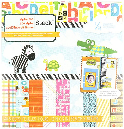 Alphabet Paper Stack (DCWV Alpha Zoo Stack, 12 by 12-inches)