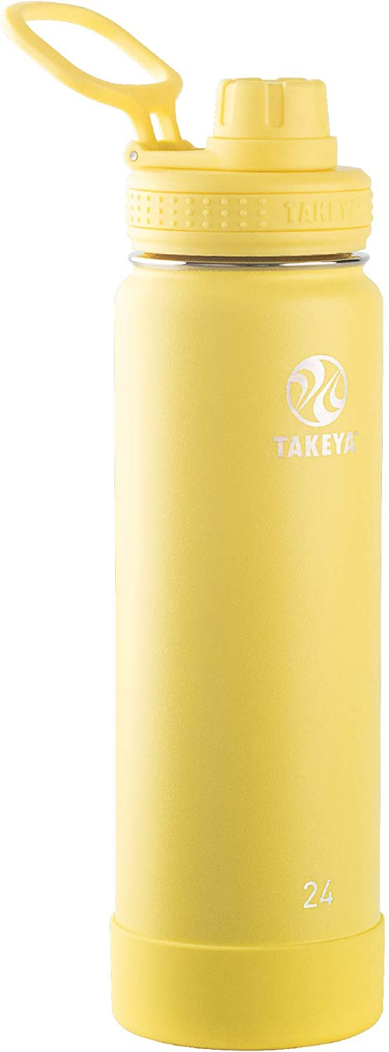 Takeya Actives Insulated Stainless Steel Water Bottle with Spout Lid, 24 oz, Canary