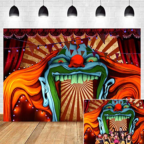 Freak Show Halloween Party (Scary Haunted House Entrance Photography Backdrop Halloween Birthday Party Decorations Vinyl 7x5ft Evil Circus Giant Carnival Photo Background Photo Booth Studio Props Banner)
