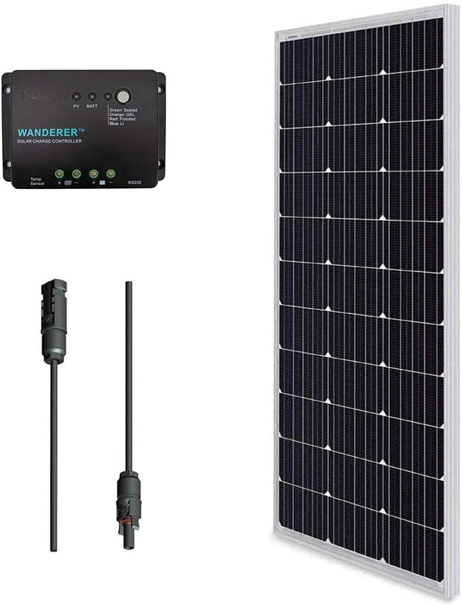 Renogy Solar Kit Bundle 100W 100W Monocrystalline Solar Panel UL Listed MC4 Adaptor Cable PWM 30A Charge Controller