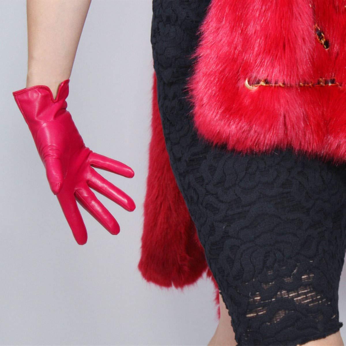 alla moda corti DooWay in pelle di pecora guanti in vera pelle rosa fucsia 25 cm