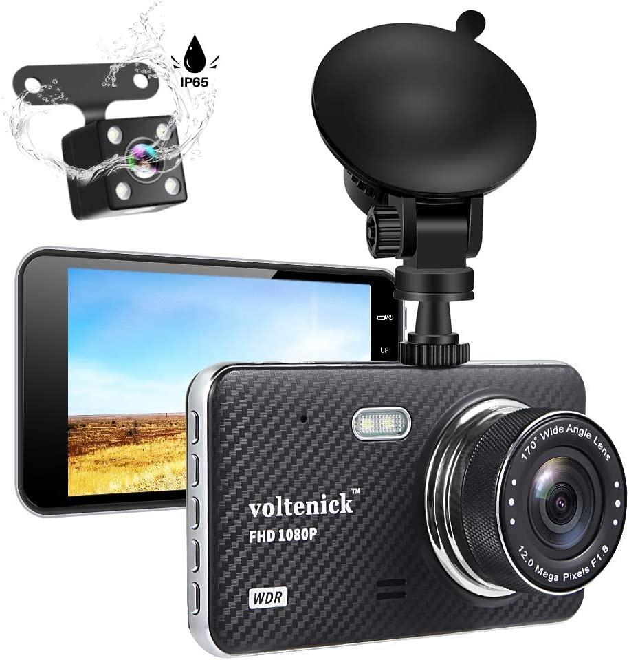 Dual Dash Camera for Cars Dash Cam Front and Rear 1080P Full HD Car Recorder 4 Inch IPS Screen 170°Wide Angle,Super Night Vision,WDR,Motion Detection,Loop Recording,G-Sensor,Parking Monitoring