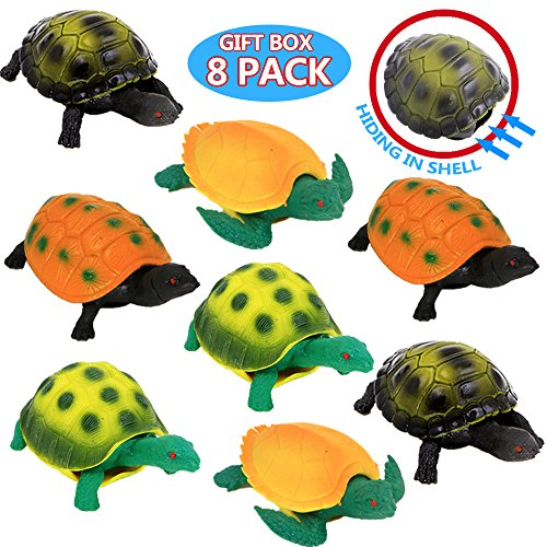 Turtle Toys,Sea Ocean Animal 5 Inch Rubber Tortoise Turtle Sets(8 Pack),Great Safety Material TPR Super Stretchy,Can Hide In Shell ValeforToy Bathtub Bath Pool Toy Party Favors Boys Kids by ValeforToy (Image #2)