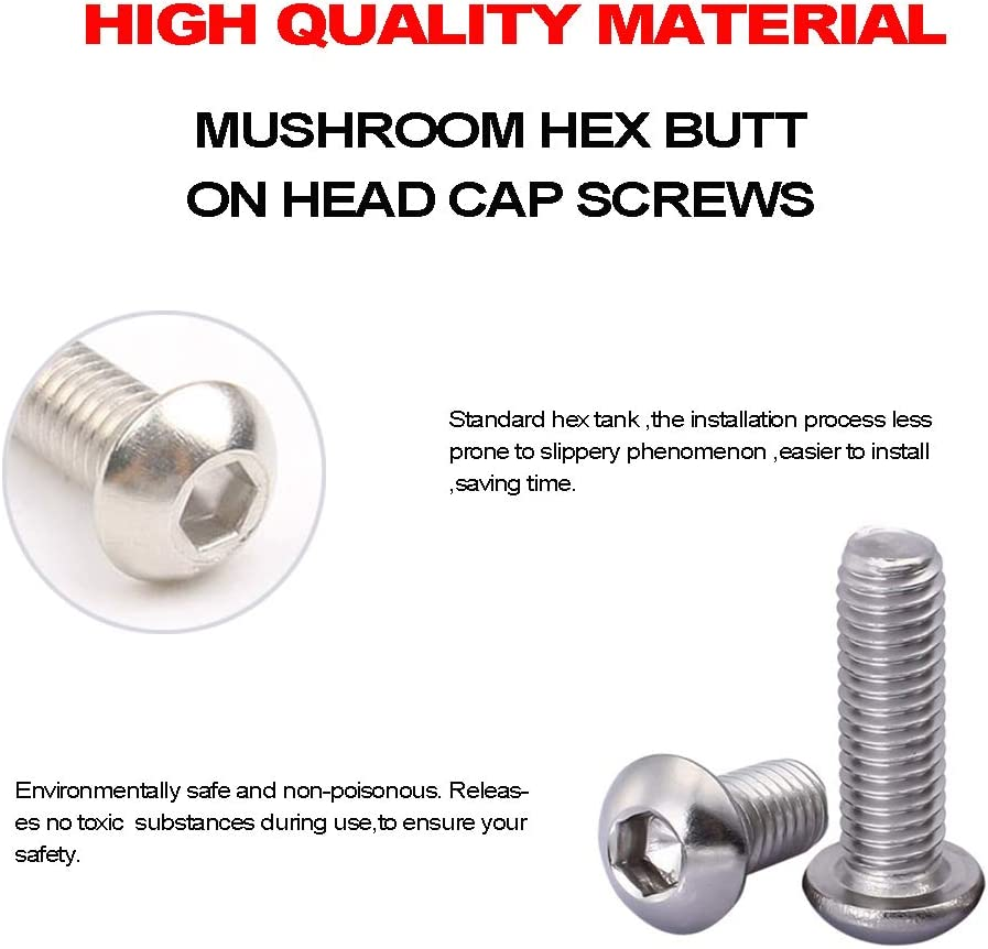 Yosawa 240-Pieces M5 Stainless Steel Screws Hex Socket Button Head Cap Bolts and Nuts Flat Washers Assortment Kit MG5