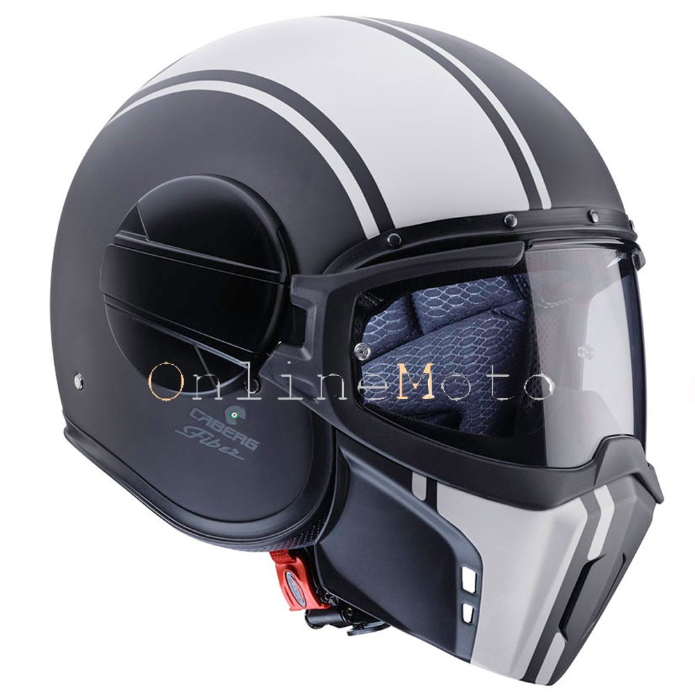 Amazon.es: Caberg fantasma Streetfighter Motocicleta Helmet Open Face leyenda negro/blanco
