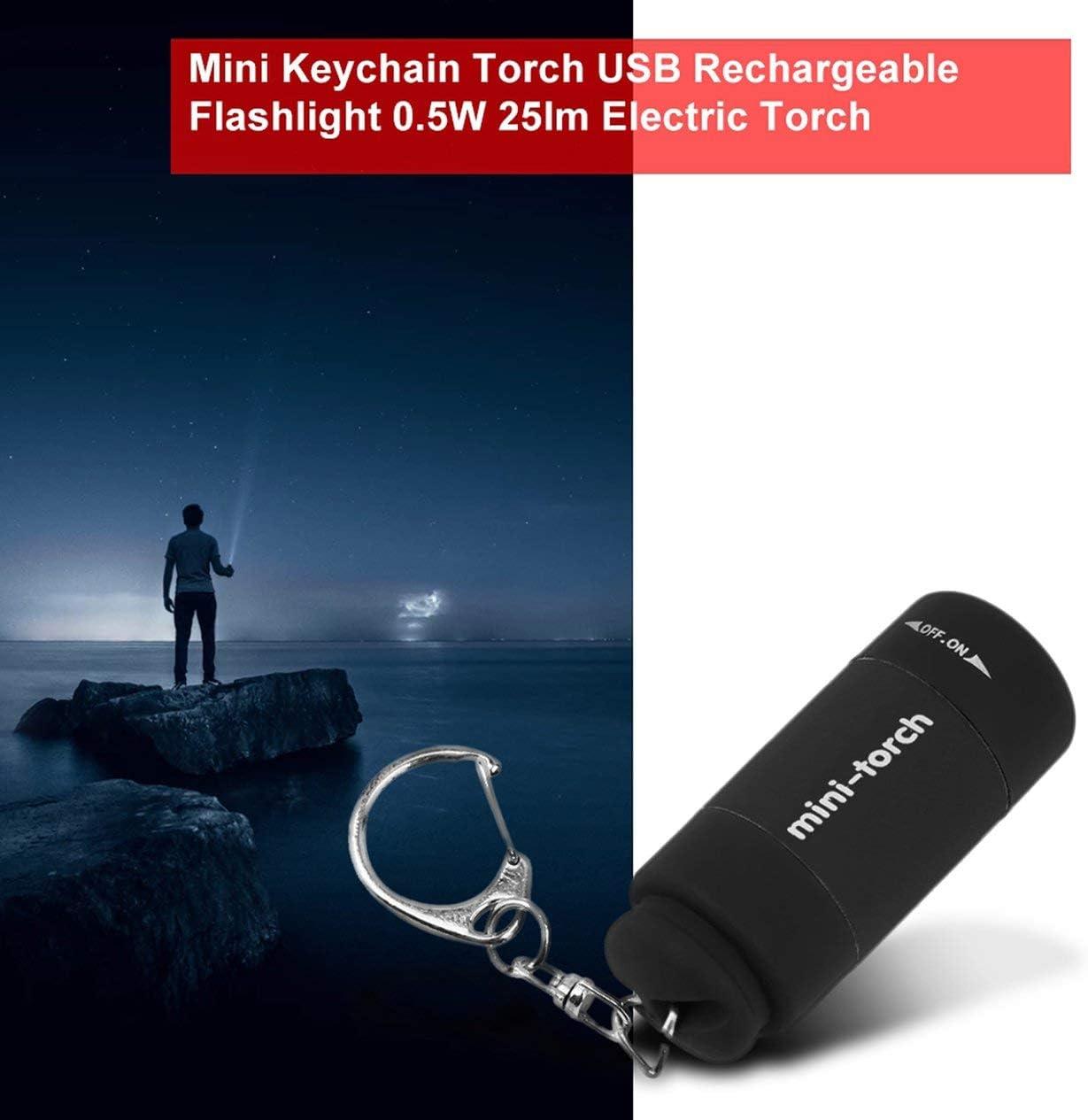 noir Portable Mini Porte-cl/és Torche USB Rechargeable lampe de Poche 0.5W 25lm /Électrique Torche Compact Camping En Plein Air Lampe de Poche