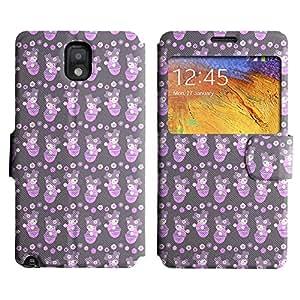 Be-Star Diseño Impreso Colorido Slim Casa Carcasa Funda Case PU Cuero - Stand Function para Samsung Galaxy Note 3 III / N9000 / N9005 ( Pink Chinky Girl )