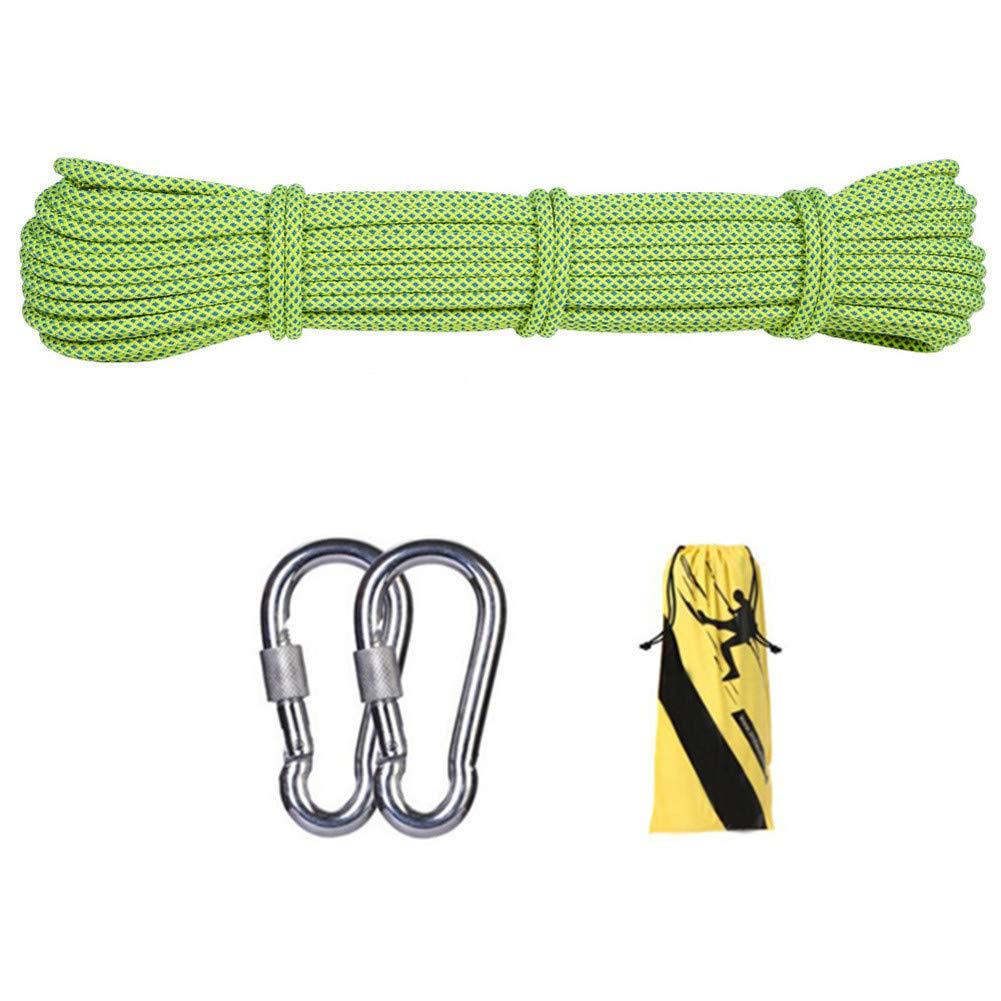 12ミリメートル屋外クライミング安全ロープ、ハイキングのための2 *カラビナ多機能ナイロン洗濯物が付いている家の緊急の脱出ロープキャンプ工学救助用具、緑,35m