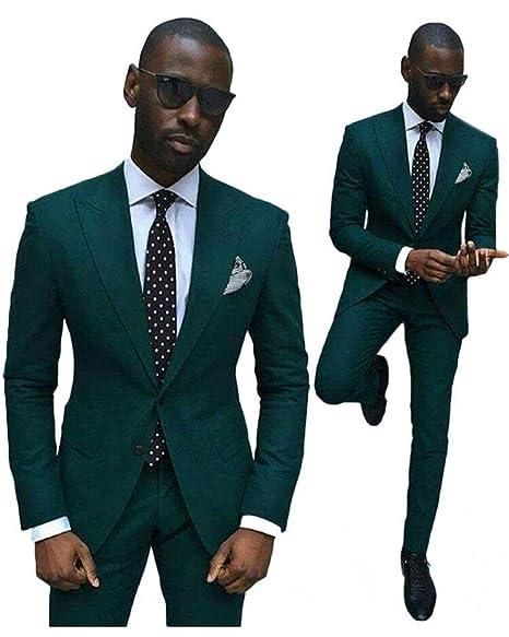 Amazon.com: Verde Slim Fit boda trajes para hombres 2 piezas ...