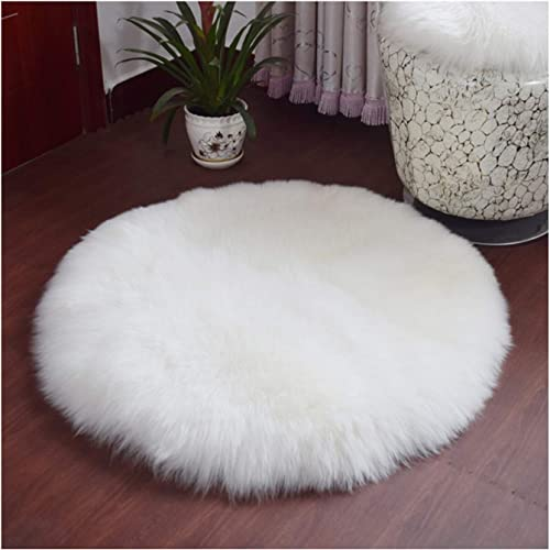 Elhouse Round Mat Home Decor Faux Fur Sheepskin Rugs Kids Carpet Nursery Bedroom Fluffy Rug Shaggy Area Rug, Diameter 6ft White