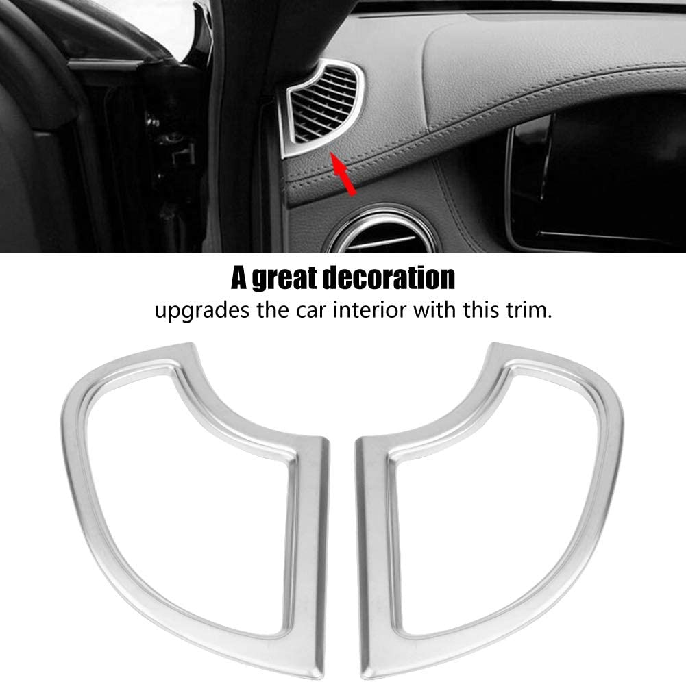Cuque 2 Pcs Car Air Conditioning Outlet Sticker Durable ABS Chrome Silver Air Conditioning Vent Frame Trim Car Radian Design Dashboard Air Conditioning Cover Trim for W222 S Class 2014 2015 2016 2017