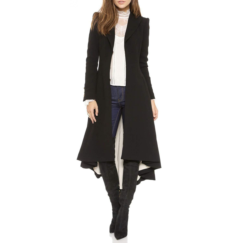 Topfly® Women's Asymmetrical High Low Ruffle Long Sleeve Button Long Trench Trench Coat