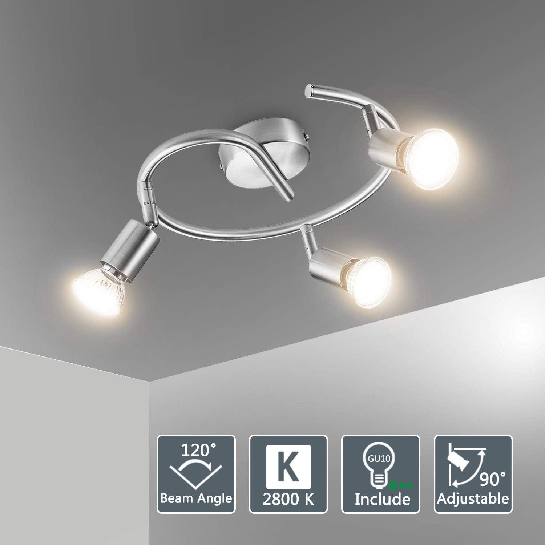 Bojim Lámpara de techo LED Plafón con Focos Giratorios 3X Bombillas GU10 Bajo consumo 6W 220V 2800K Blanco cálido 600lm 82Ra IP20 Níquel Mate