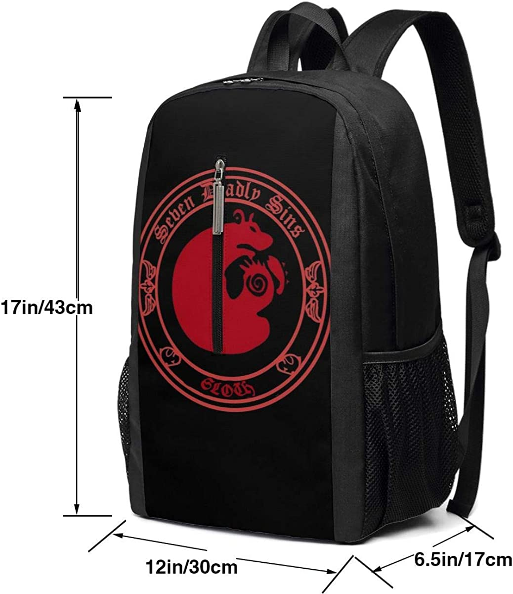 The Seven Deadly Sins Grizzly Sloth 17 Inch Laptop Backpacks Classic College Bookbag Casual Daypack
