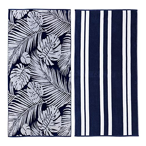 - Great Bay Home 2 Pack 100% Cotton Jacquard Plush Nautical Beach Towel. 30