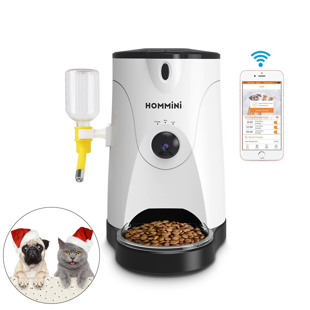 Smart Feeder,HOMMINI Automatic Pet Feeder with 110° HD Camera Video Voice Recording Real-time Sharing,250ml Water Feeder for Dog & Cat, Controlled by Iphone, Andriod or Other Smart Devices
