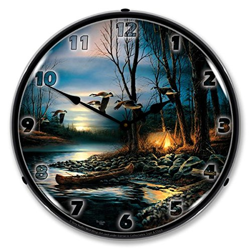 Evening Glow Mallard Ducks By Terry Redlin Lighted Wall Clock - Mallards By Terry