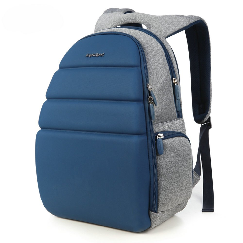 AspenSport Deluxe Fashion Laptop Backpack fit 13.3 inch Notebook with Moulded Front Panel for Men Women Travel Business College Students Computer Bag Navy Grey