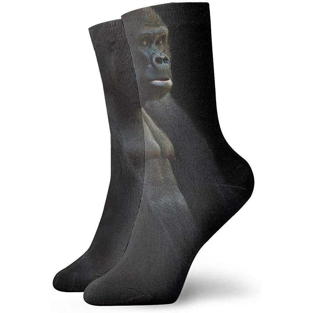 Adamitt Neuheit lustige verr/ückte Crew Socke schwarzer Gorilla gedruckt Sport athletische Socken 30cm lange personalisierte Geschenksocken