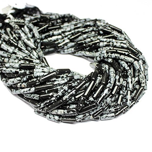 5 Strand Natural Snowflake Obsidian Smooth Loose Tube Gemstone Craft Beads 14
