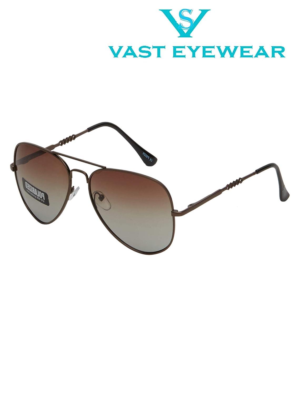Vast Polar Vision Polarized Aviator Unisex Sunglasses (Polo5026|BrownChain|55|Brown Lens)