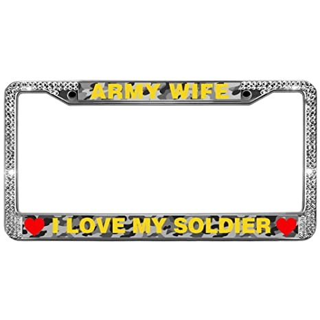 Amazon.com: GND Army Wife Quotes Bling License Plate Frame ...