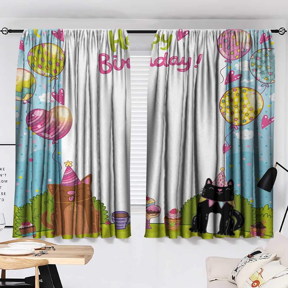 Jinguizi Kids Birthday Bedroom/Living Party Black and Brown Cats Cakes Balloons Heart Traditional Polka Dots Art Party Darkening Curtains Multicolor W55 x L39 by Jinguizi (Image #2)