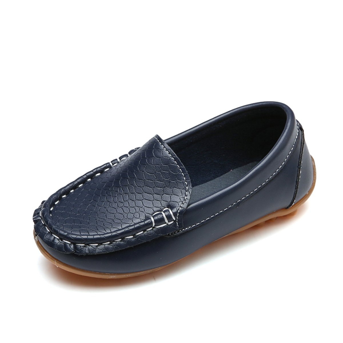 L-RUN Kids Leather Loafer Penny Slip On Shoes Casual Walking Shoes Navy 8.5 M US Toddler