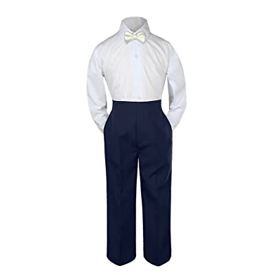 Leadertux 3pc Formal Baby Toddler Boys Ivory Bow Tie Navy Blue Pants Outfits S-7 (2T)