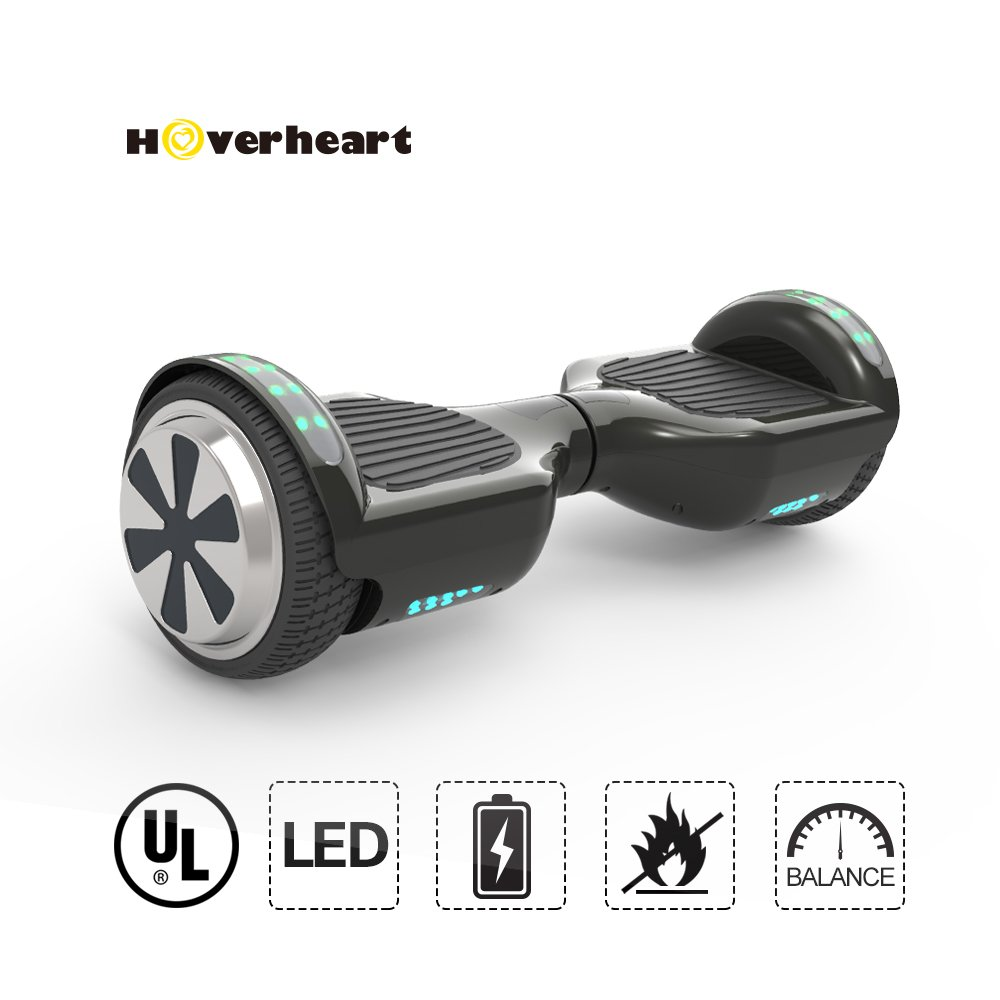 Hoverboard 6.5'' UL 2272 Listed Two-Wheel Self Balancing Electric Scooter with Top LED Light (Black)