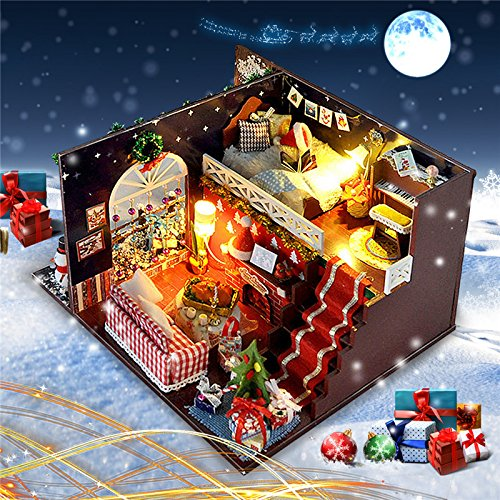 T Yu Diy Kits Christmas House Decoration Miniature Wood Doll House Furniture Model Assembling