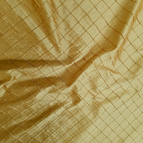 Diamond Pintuck Dupioni Shantung with Embroidery 100% Silk Fabric, By The Yard (Dark Gold)