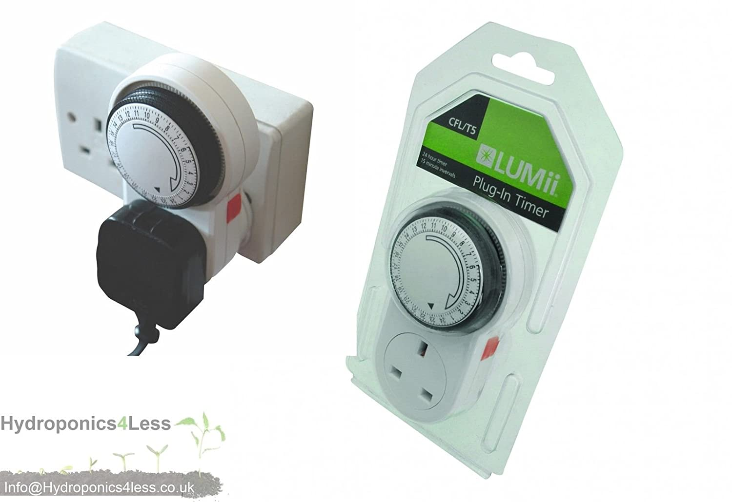 LUMii 24 Hour Plug in Timer for Grow Lights Ballasts HPS MH Light Kits & Fans hydroponics4less